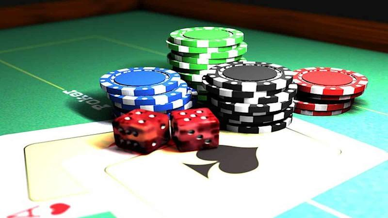 Gambling chips dice and cards