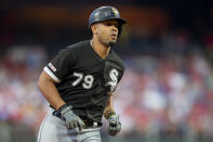 Chicago White Sox Jose Abreu runs the bases after hitting a two-run home run in the third inning of the team's baseball game against the Philadelphia Phillies, Friday, Aug. 2, 2019, in Philadelphia. (AP Photo/Laurence Kesterson)