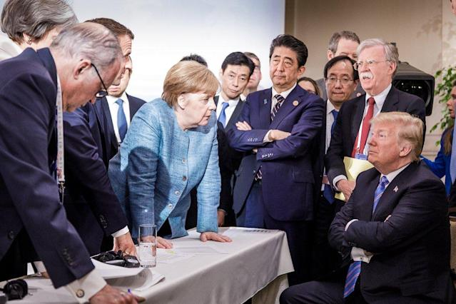 """<p>German government spokesman, Steffen Seibert, posted this photo on social media, June 9, 2018, """"Day 2 of the #G7Summit in Canada: deliberations on the sidelines of the official #G7Charlevoix<br> agenda.""""(Photo: Steffen Seibert via Twitter) </p>"""