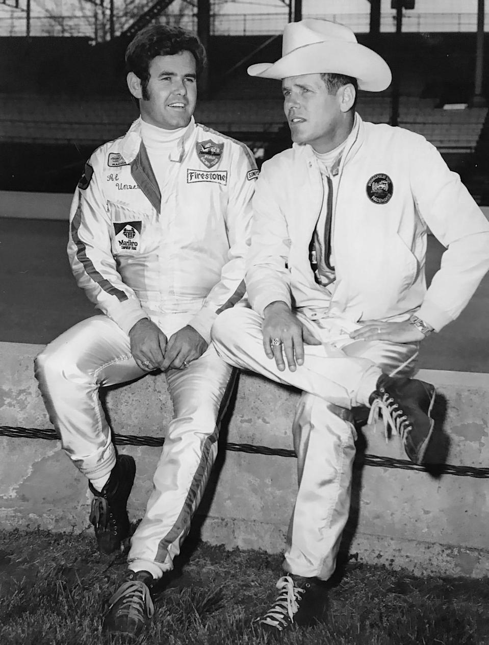 Al, left, and brother Bobby Unser prepare for the Indiana Classic 100-mile USAC stock car race at the Indiana StateFairgrounds in 1972.
