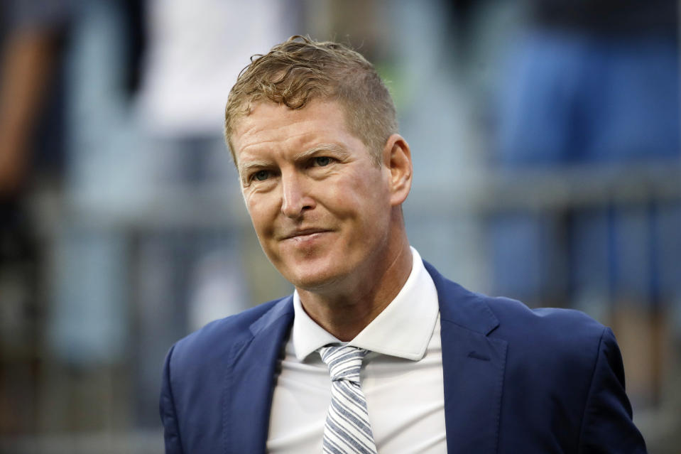 FILE - In this May 25, 2019, file photo, Philadelphia Union head coach Jim Curtin looks on before an MLS soccer match against the Portland Timbers in Chester, Pa. Curtin has been named Major League Soccer's Coach of the Year on Tuesday, Nov. 17, 2020. (AP Photo/Matt Rourke, File)