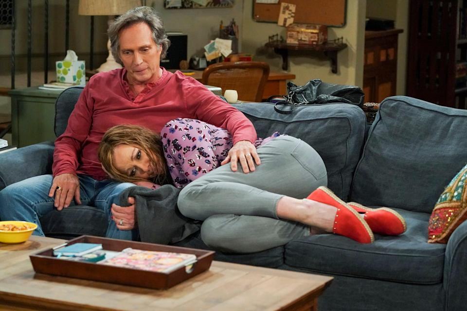 """Adam (William Fichtner), sitting up, and Bonnie (Allison Janney), have faced plenty of challenges in their relationship and marriage, but they're still going strong as CBS' """"Mom"""" moves toward its May 13 conclusion."""