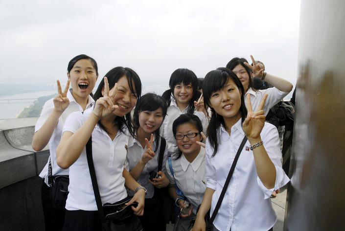 Image: North Korean high school students visit the Juche Tower, built to commemorate the 70th birthday of former President Kim Il Sung. (Alain Nogues / Corbis via Getty Images file)