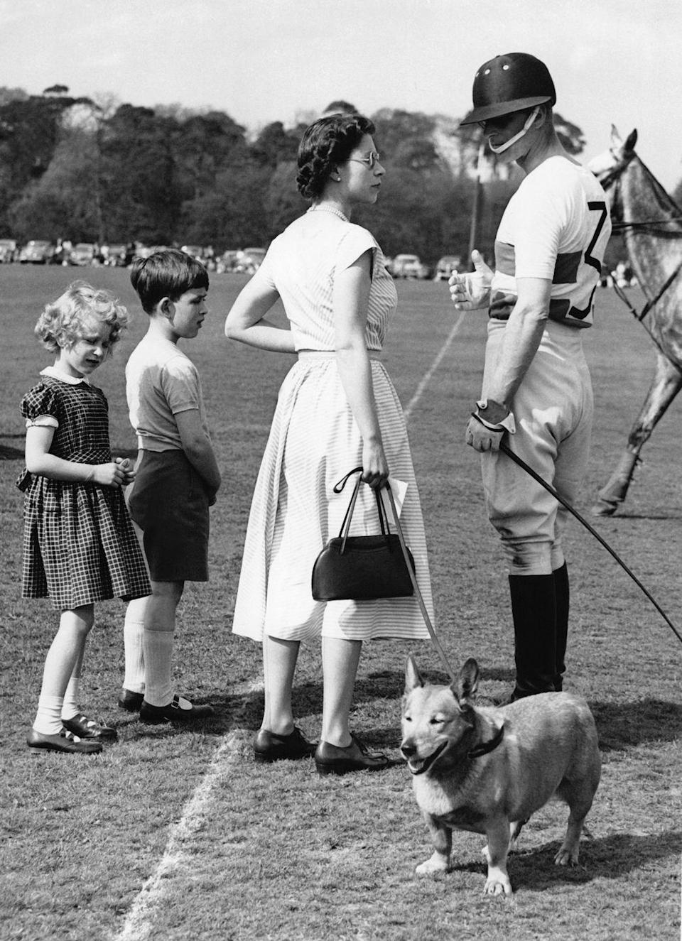 """<p>Though the queen, here with Philip and their children in May 1956, didn't share her husband's enthusiasm for polo (nor did he share her passion for corgis), they both loved the outdoors. And, as Prince Philip <a href=""""http://www.mirror.co.uk/news/uk-news/prince-philip-quotes-the-queen-and-her-husband-1446365"""" rel=""""nofollow noopener"""" target=""""_blank"""" data-ylk=""""slk:said in 2006"""" class=""""link rapid-noclick-resp"""">said in 2006</a>, """"It's the secret of a happy marriage to have different interests.""""</p>"""