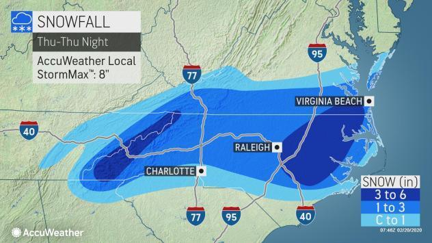 Portions of North Carolina will see up to 6 inches of snow from the winter storm that's hitting the state on Feb. 20, 2020.