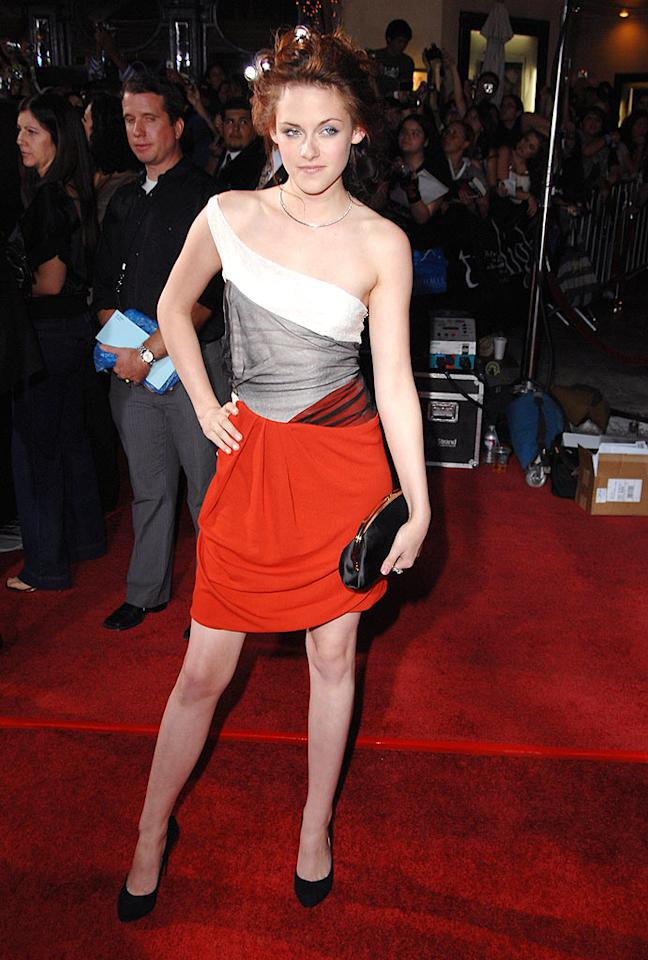 "Kristen Stewart's unruly updo and asymmetric color block dress, courtesy of Balenciaga, bombed at the Los Angeles premiere of her highly-anticipated flick, ""Twilight."" Steve Granitz/<a href=""http://www.wireimage.com"" target=""new"">WireImage.com</a> - November 17, 2008"