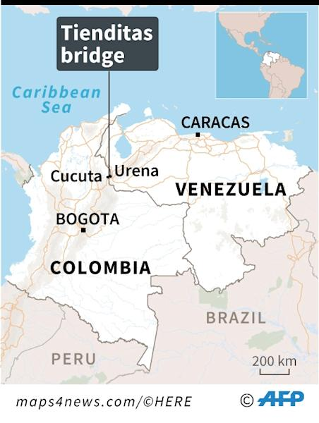 Map locating the Tienditas bridge, blocked by the Venezuelan military ahead of an anticipated humanitarian aid shipment. (AFP Photo/Marimé BRUNENGO)