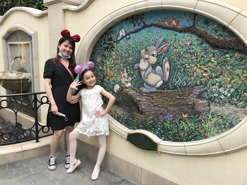 Liu Jiali, 39, and her daughter Margaret Liu, 8, were on a Disneyland trip before Margaret's long-awaited return to second grade.