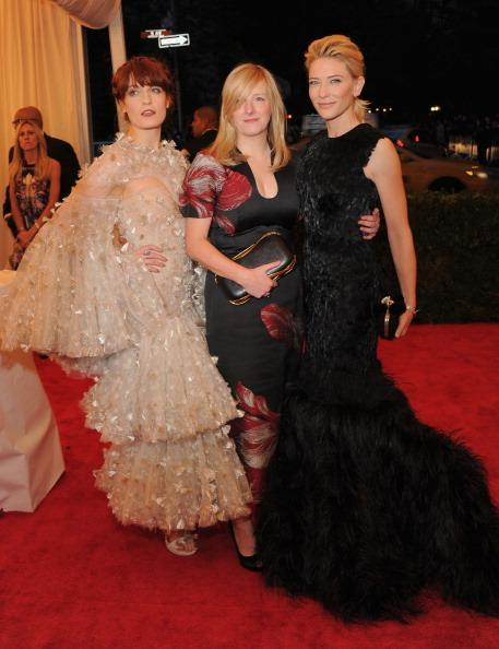 Florence Welch, Sarah Burton and Cate Blanchett attend the 'Schiaparelli And Prada: Impossible Conversations' Costume Institute Gala at the Metropolitan Museum of Art on May 7, 2012 in New York City. (Photo by Larry Busacca/Getty Images)
