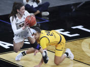 Oregon State guard Sasha Goforth (13) inbounds the ball as California forward Evelien Lutje Schipholt (24) defends during an NCAA college basketball game in the first round of the Pac-12 women's tournament Wednesday, March 3, 2021, in Las Vegas. (AP Photo/Isaac Brekken)