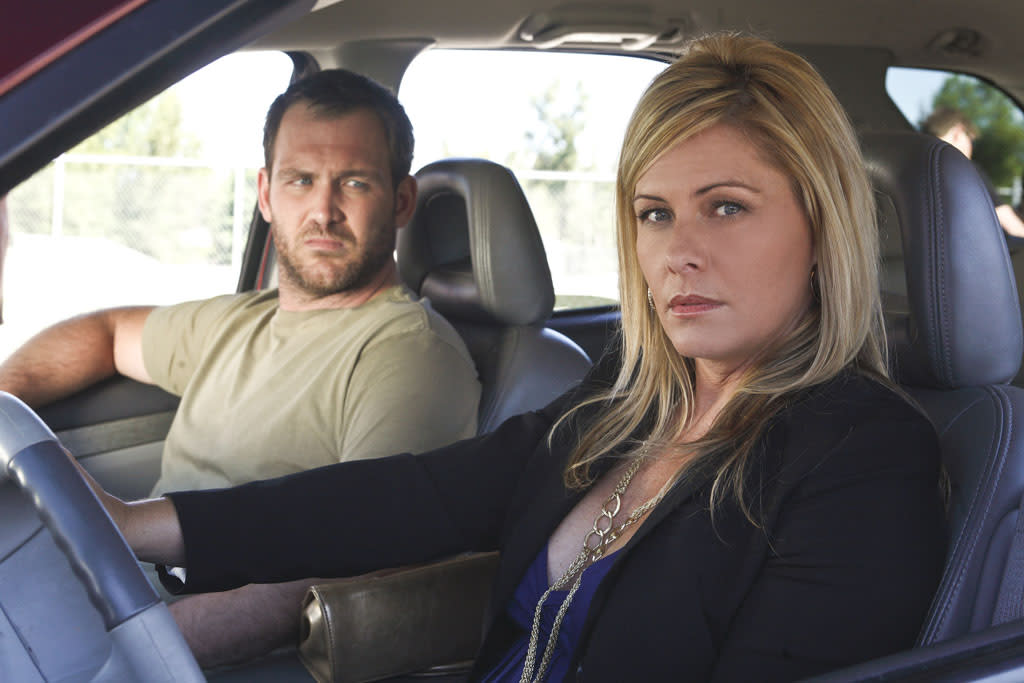 "Ty Olsson and Nicole Eggert star in ""Past Lies,"" airing Friday, May 3, at 8pm ET/PT on LMN."