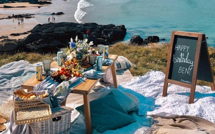 A picnic with a dramatic setting