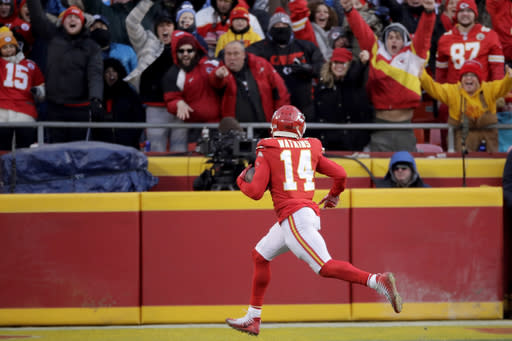 Kansas City Chiefs' Sammy Watkins catches a touchdown pass during the second half of the NFL AFC Championship football game against the Tennessee Titans Sunday, Jan. 19, 2020, in Kansas City, MO. (AP Photo/Charlie Riedel)