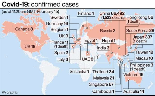 Covid-19: confirmed cases as of February 15. Infographic by PA Graphics.