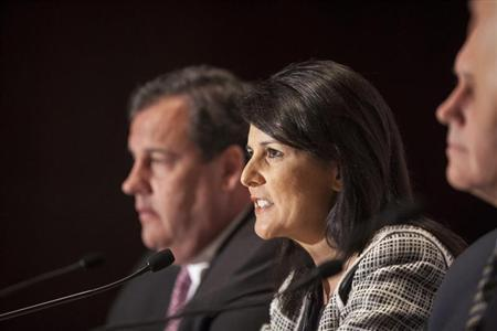 Governor Haley answers question during a news briefing at the 2013 Republican Governors Association conference in Scottsdale