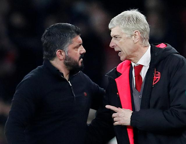 Soccer Football - Europa League Round of 16 Second Leg - Arsenal vs AC Milan - Emirates Stadium, London, Britain - March 15, 2018 Arsenal manager Arsene Wenger and AC Milan coach Gennaro Gattuso after the match REUTERS/David Klein