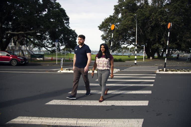 Lamia Imam, a New Zealander, and her American husband, Cody Sandel, in Auckland, New Zealand, on May 7, 2021. They had always planned to return to New Zealand, but their move was hastened by the pandemic and the political situation in the United States.  (Cornell Tukiri/The New York Times)