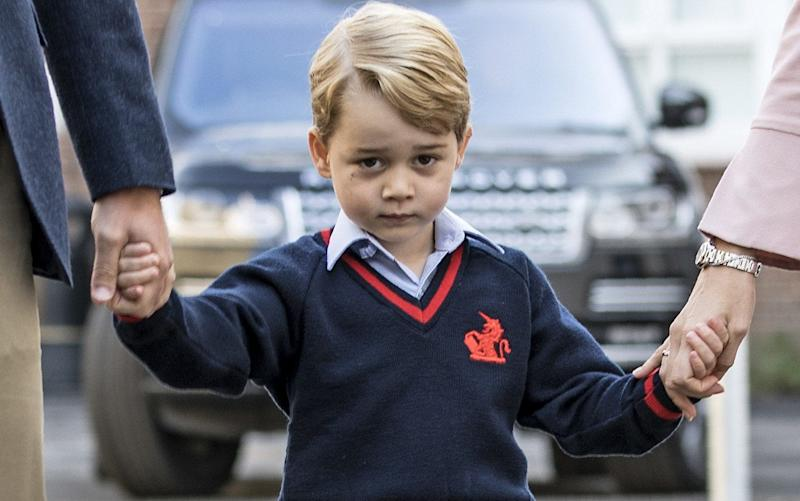 Prince George on his first day at Thomas's Battersea in south-west London - AFP