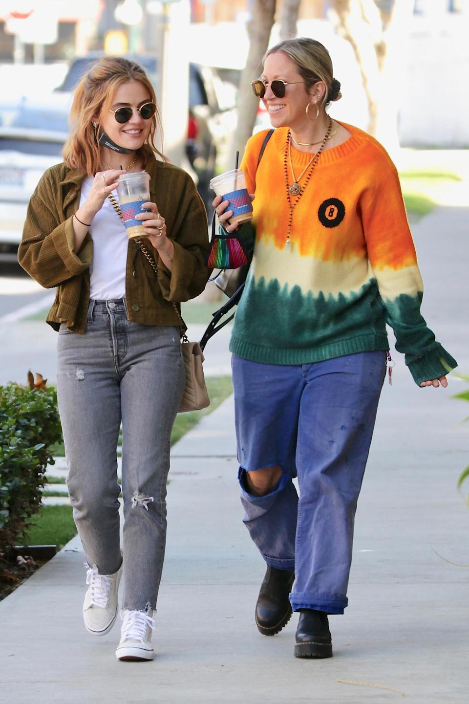 <p>Lucy Hale enjoyed a coffee date with her friend in Los Angeles.</p>