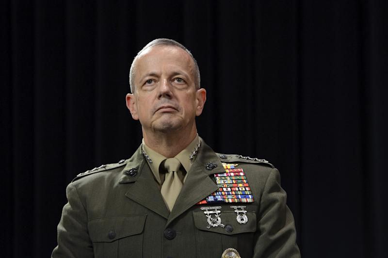 US General John Allen looks on following a meeting of NATO Defense Ministers at NATO headquarter in Brussels on October 10, 2012 (AFP Photo/Thierry Charlier)
