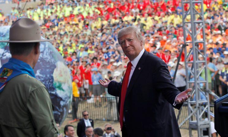 Trump gestures while delivering remarks at the 2017 National Scout Jamboree in West Virginia, on Tuesday. (Photo: Carlos Barria/Reuters)