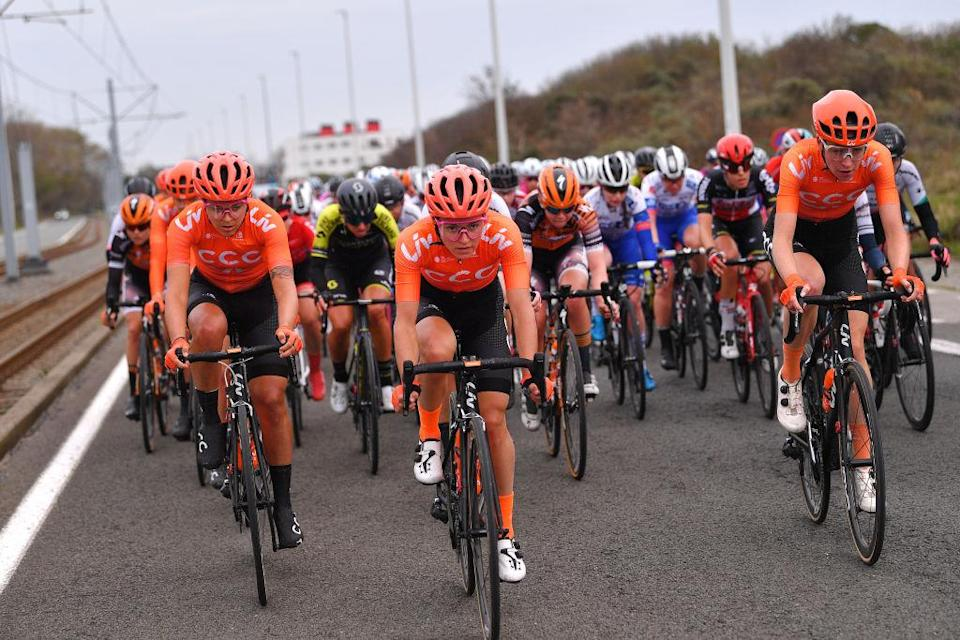 DE PANNE BELGIUM  OCTOBER 20 Soraya Paladin of Italy and Team CCC  Liv  Sofia Bertizzolo of Italy and Team CCC  Liv  Riejanne Markus of The Netherlands and Team CCC  Liv  Peloton  during the 3rd Driedaagse Brugge  De Panne 2020 Women Classic a 1563km race from Brugge to De Panne  AG3daagse  on October 20 2020 in De Panne Belgium Photo by Luc ClaessenGetty Images