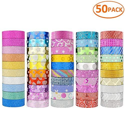 JANYUN 50 Rolls Glitter Washi Masking Tape Set,Great for DIY Decor Scrapbooking Sticker Masking Paper Decoration Tape Adhesive School Supplies(Random Pattern) (Amazon / Amazon)