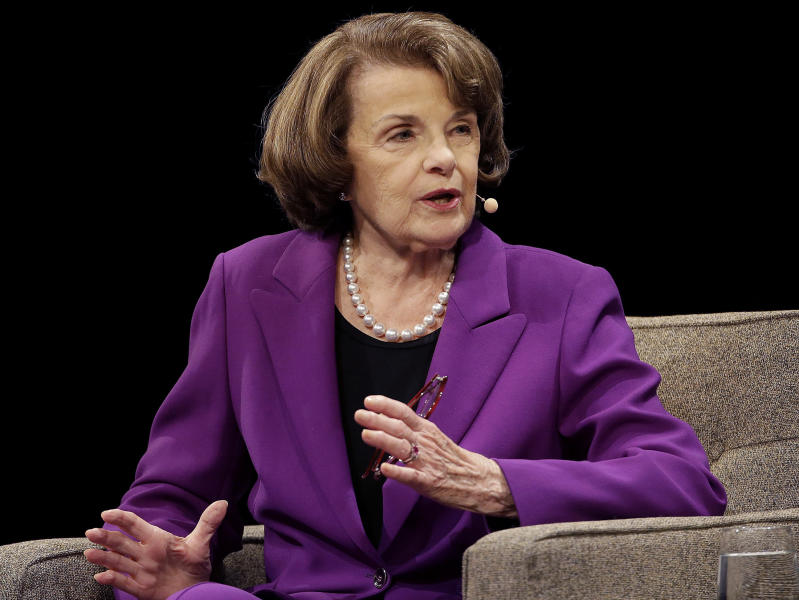 """FILE - In this Aug. 29, 2017, file photo, United States Sen. Dianne Feinstein, D-Calif., speaks at the Commonwealth Club in San Francisco. Feinstein, a veteran California Democrat, said Monday, Oct. 9, 2017, that she's running for another term. The 84-year-old took to Twitter to declare that """"I'm all in."""" Democrat Kevin de Leon, president of California State Senate, announced Sunday, Oct. 15, 2017 he will challenge Sen. Dianne Feinstein in next year's election. (AP Photo/Jeff Chiu, File)"""