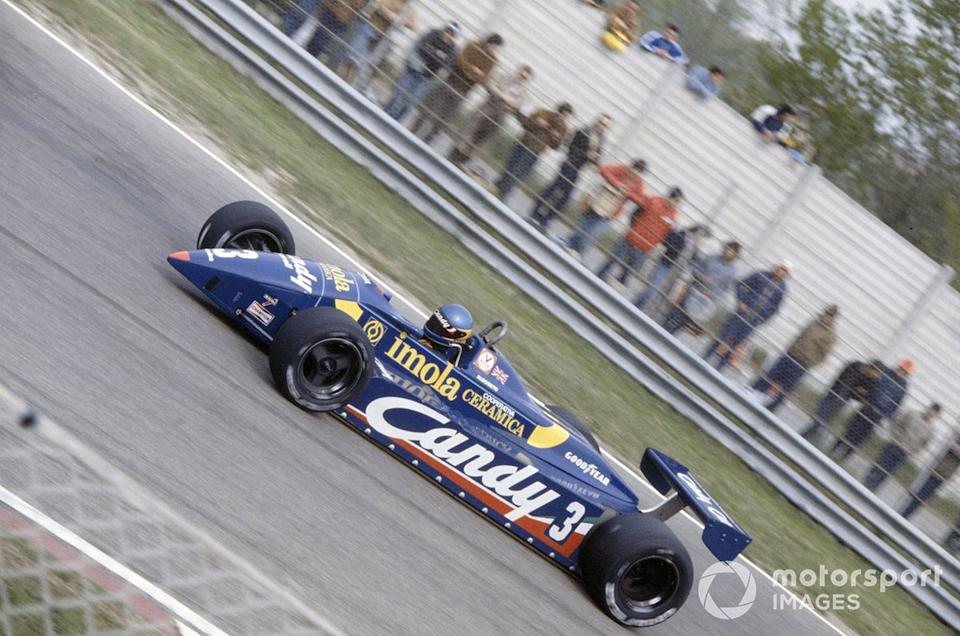 "Albo's first podium finish came in the 1982 San Marino GP driving the Tyrrell 011. <span class=""copyright"">Motorsport Images</span>"