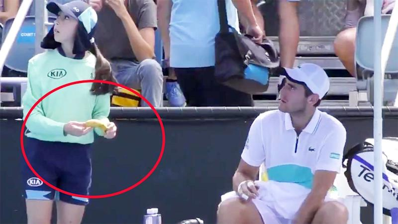 Seen here, Elliot Benchetrit wanted a ball girl to peel his banana for him.