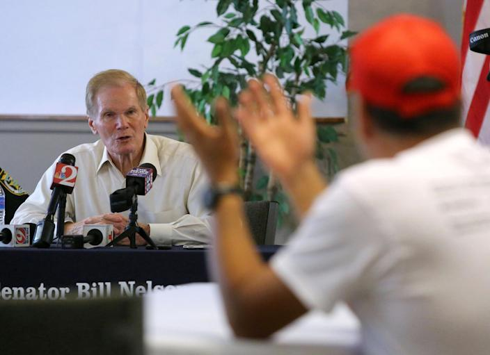 Sen. Bill Nelson, D-Fla., listens to displaced Puerto Ricans living in Central Florida at a meeting in Kissimmee, Fla., April 20, 2018, to address concerns that FEMA was planning to stop providing temporary housing assistance to hundreds of families who fled the island after the devastation of Hurricane Maria. (Photo: Joe Burbank/TNS via ZUMA Wire)