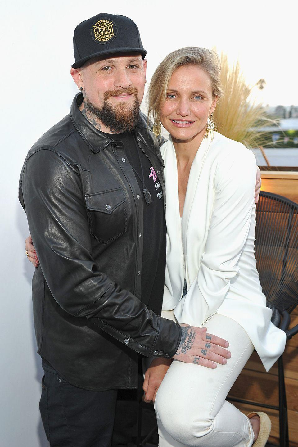 "<p>After dating for seven months, Cameron, 41, and Benji got engaged around Christmas 2014 and were married the following January at their home in LA. ""…I have a husband who is…just my partner in life and in everything,"" she said in 2017 at a Goop health and wellness conference, according to  <a class=""link rapid-noclick-resp"" href=""https://www.usatoday.com/story/life/entertainthis/2017/06/11/cameron-diaz-reveals-why-she-waited-marry/102748686/"" rel=""nofollow noopener"" target=""_blank"" data-ylk=""slk:USA Today.""><em>USA Today</em>.</a> Awww.</p>"
