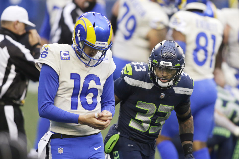 Seattle Seahawks strong safety Jamal Adams (33) looks at Los Angeles Rams quarterback Jared Goff during Saturday's wild-card game. (AP Photo/Scott Eklund)