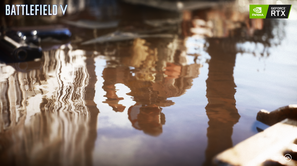 A scene from the video game Battlefield V, showing a character reflected in a puddle of water and the NVIDIA GeForce RTX logo