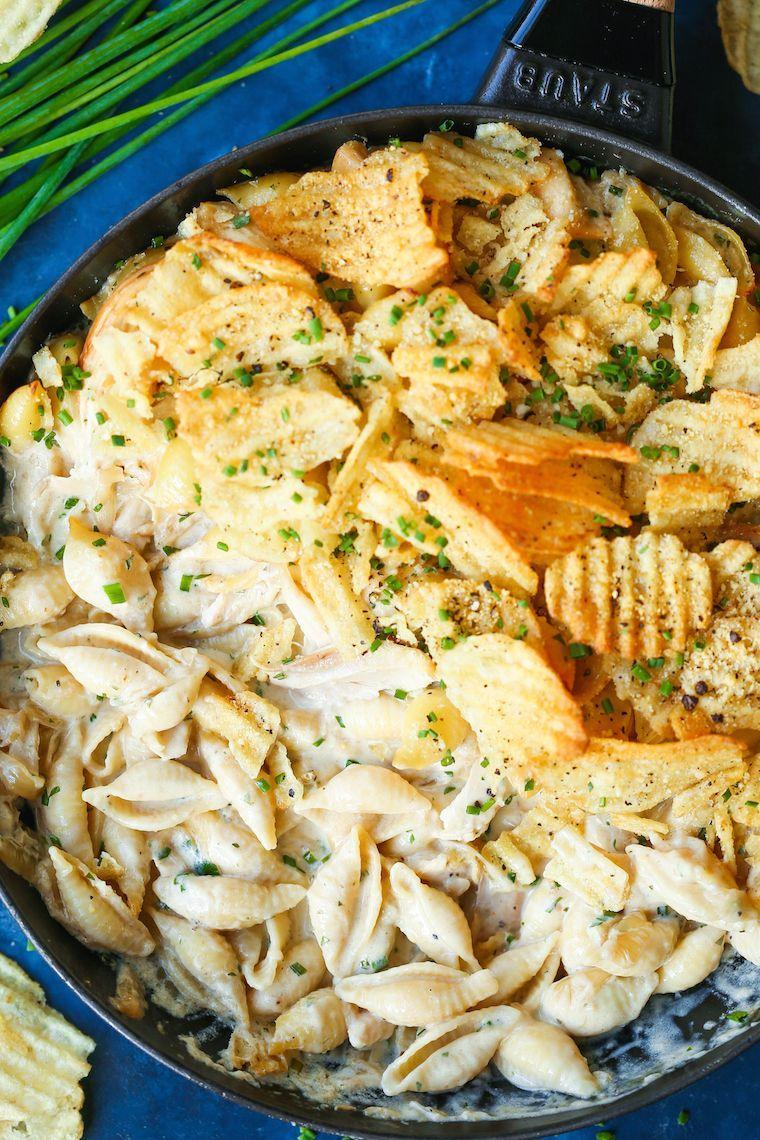 """<p>Rotisserie chicken is the secret to this easy casserole. A simple, creamy sauce brings it all together. </p><p><strong>Get the recipe at <a href=""""https://damndelicious.net/2018/11/25/french-onion-chicken-noodle-casserole/"""" rel=""""nofollow noopener"""" target=""""_blank"""" data-ylk=""""slk:Damn Delicious"""" class=""""link rapid-noclick-resp"""">Damn Delicious</a>.</strong> </p>"""