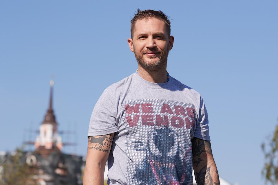 MOSCOW, RUSSIA - SEPTEMBER 21: Actor Tom Hardy attends the 'Venom' photocall at Zaryadie park on September 21, 2018 in Moscow, Russia. (Photo by Oleg Nikishin/Epsilon/Getty Images)