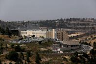 A general view shows an area where many businesses are located, including a building belonging to Teva Pharmaceutical Industries, in Jerusalem May 14, 2017. Picture taken May 14, 2017. REUTERS/Ronen Zvulun