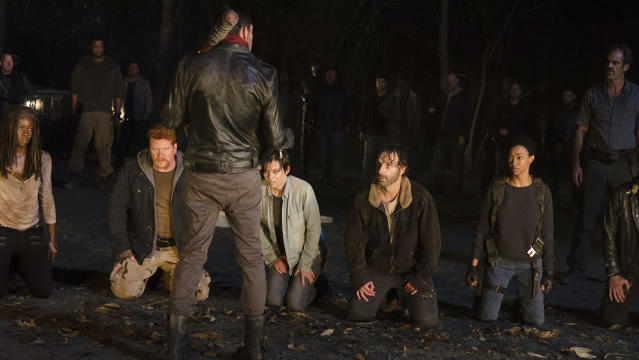 Danai Gurira as Michonne, Michael Cudlitz as Abraham, Jeffrey Dean Morgan as Negan, Lauren Cohan as Maggie, Andrew Lincoln as Rick, Sonequa Martin-Green as Sasha, and Steven Ogg as Simon in  <em>The Walking Dead</em>. (Photo: AMC)