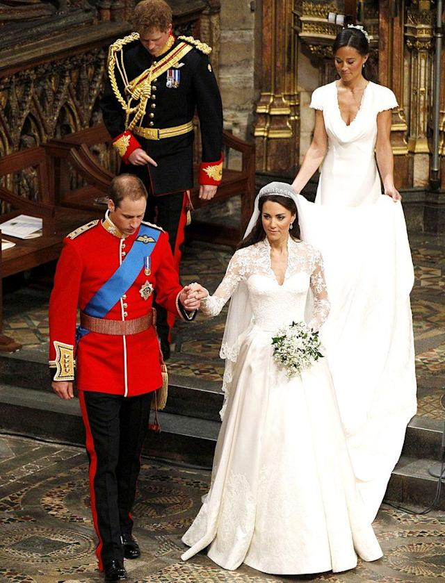 Kate Middleton and Prince William's wedding. (Photo: Kirsty Wigglesworth/AP, pool)