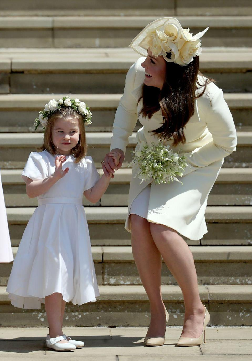 <p>Kate laughed at Princess Charlotte's adorable antics during the royal wedding of Prince Harry and Meghan Markle. Middleton took a backseat from royal duties for this wedding since she gave birth to Louis just a month before.</p>