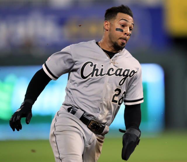 Chicago White Sox's Leury Garcia rounds third on his way to score during the seventh inning of the team's baseball game against the Kansas City Royals at Kauffman Stadium in Kansas City, Mo., Friday, June 7, 2019. (AP Photo/Orlin Wagner)