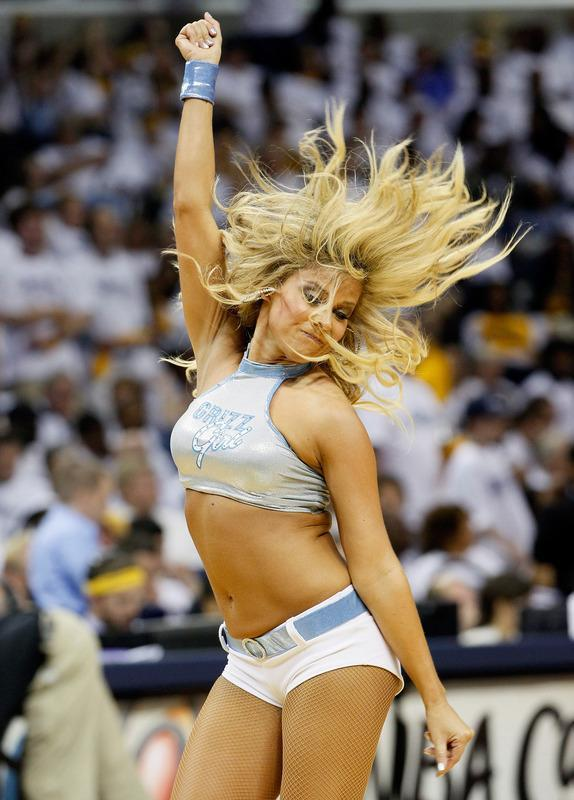MEMPHIS, TN - MAY 13: A Memphis Grizzlies cheerleader performs against the Los Angeles Clippers in Game Seven of the Western Conference Quarterfinals in the 2012 NBA Playoffs at FedExForum on May 13, 2012 in Memphis, Tennessee. NOTE TO USER: User expressly acknowledges and agrees that, by downloading and or using this photograph, User is consenting to the terms and conditions of the Getty Images License Agreement (Photo by Kevin C. Cox/Getty Images)