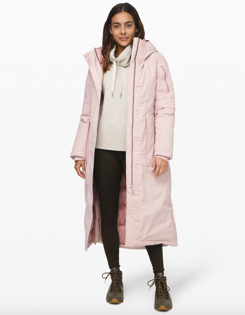 Winter Warrior Long Parka in porcelain pink