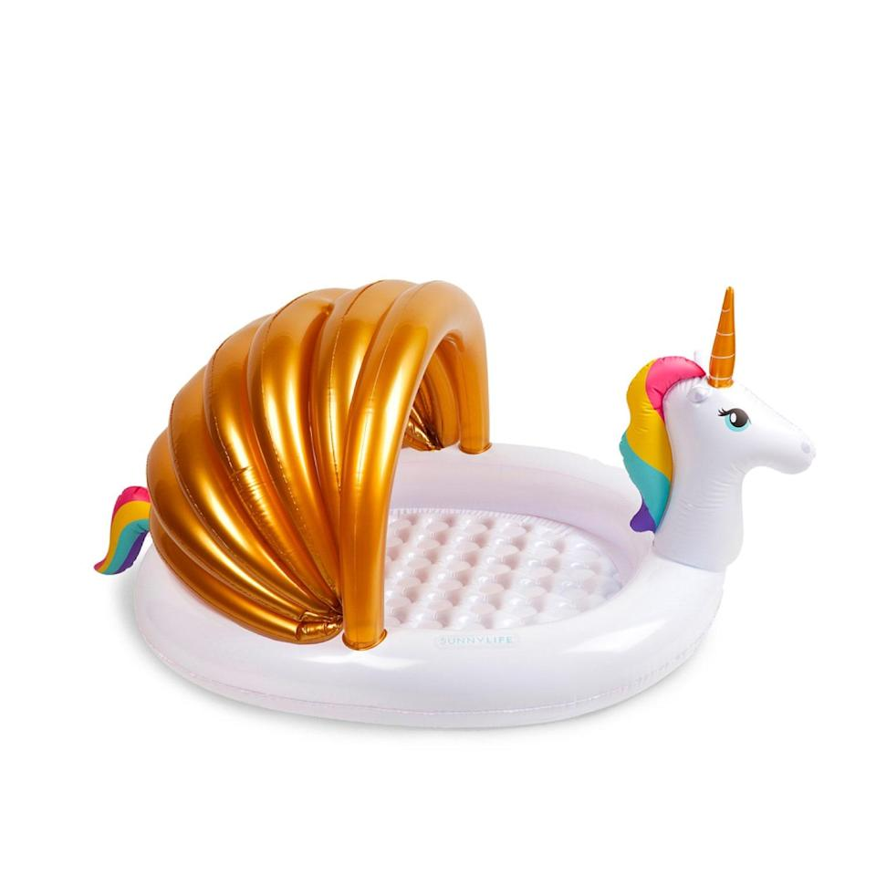"""You may not be able to do much more than sit with your legs criss-crossed in this metallic unicorn pool, but we're making do with what we've got, people. And it's cute to boot. $50, Shopbop. <a href=""""https://www.shopbop.com/unicorn-kiddy-pool-sunnylife/vp/v=1/1514531439.htm"""" rel=""""nofollow noopener"""" target=""""_blank"""" data-ylk=""""slk:Get it now!"""" class=""""link rapid-noclick-resp"""">Get it now!</a>"""