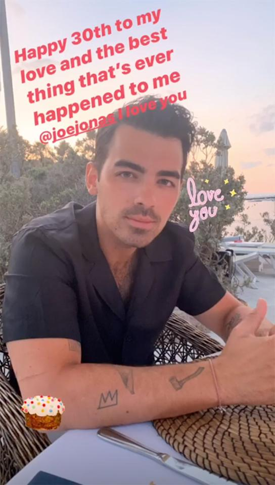 """Sophie kicked off husband Joe's 30th birthday with a sweet message on her <a href=""""https://www.instagram.com/sophiet/"""">Instagram</a> story that said, """"Happy 30th to my love and the best thing that's ever happened to me @joejonas I love you.""""  The heartwarming tribute was written on a photo of her hubby Joe, and decorated with cute """"love you"""" and birthday cake stickers."""