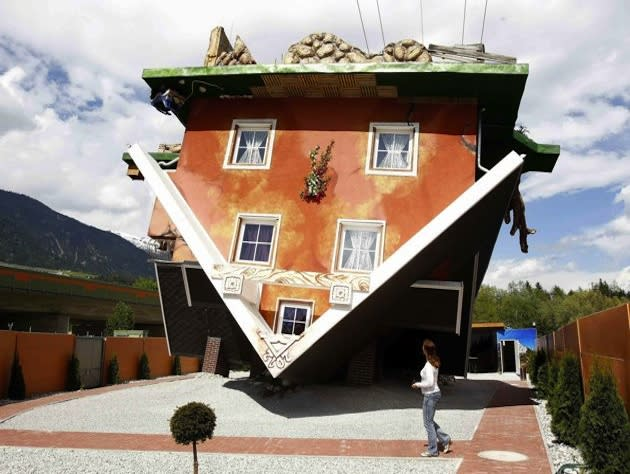 Austria\'s \'upside down house\' becomes tourist attraction