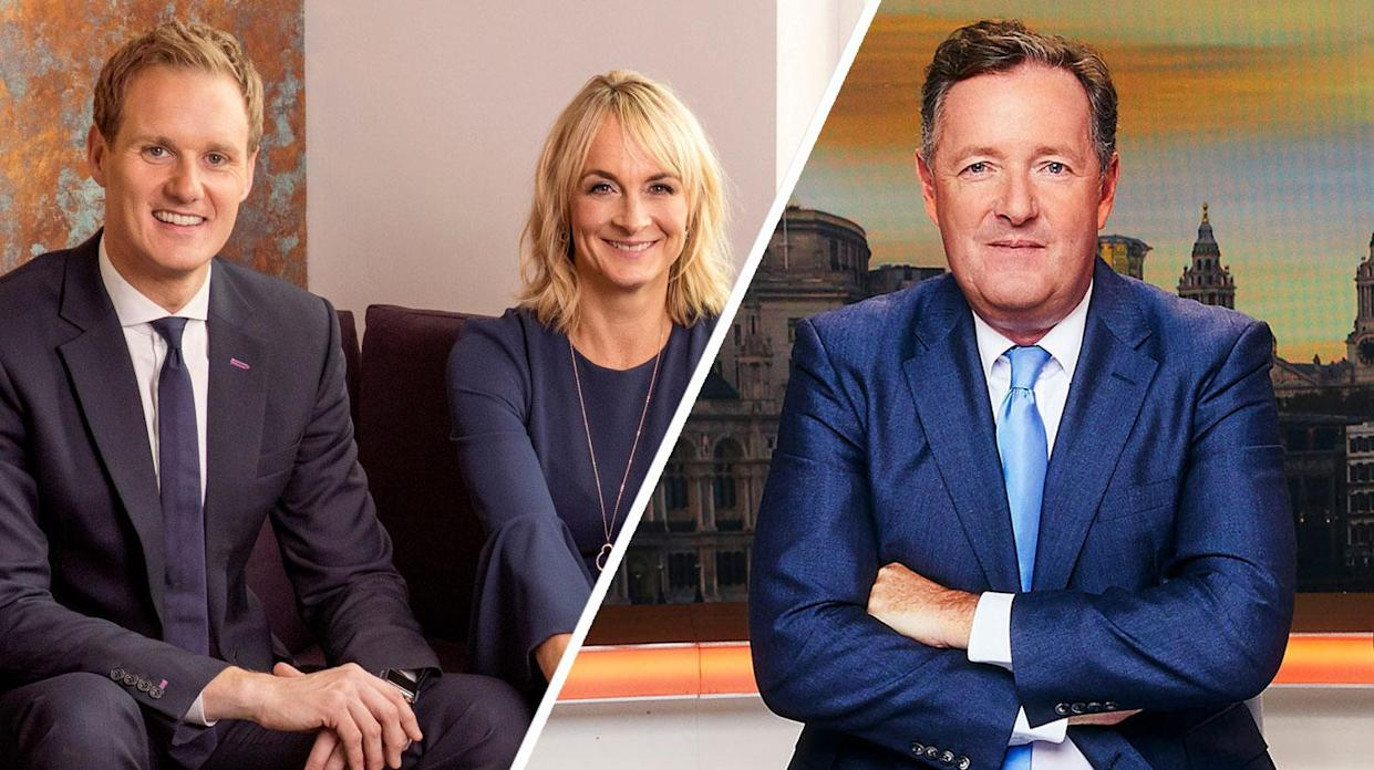 Dan Walker and Piers Morgan traded more blows over Louise Minchin's departure (BBC/ITV)