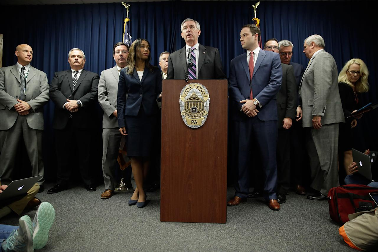 <p>District Attorney Kevin Steele holds a news conference after a mistrial in Bill Cosby's sexual assault case in Norristown, Pa., Saturday, June 17, 2017. Cosby's trial ended without a verdict after jurors failed to reach a unanimous decision. (AP Photo/Matt Rourke) </p>