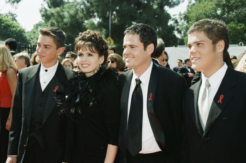 THE 50TH ANNUAL PRIMETIME EMMY AWARDS -- Pictured: (l-r) Son Michael Blosil, Marie Osmond, Donny Osmond, son Brandon Osmond arrive at the 50th Annual Primetime Emmy Awards held at the Shrine Auditorium in Los Angeles, CA on September 13, 1998 -- (Photo by: Margaret C. Norton/NBC/NBCU Photo Bank via Getty Images)