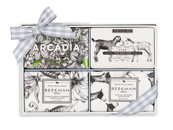 """<h3>Beekman 1802 Home On The Road 4-Piece Bar Soap Set<br></h3><br>""""It's a no brainer that your sea-goat pal will flip over <em>goat</em> milk soap,"""" mentions Stardust. """"It'll help make their ageless skin soft and pure.""""<br><br><strong>Beekman 1802</strong> Home On The Road 4-Piece Bar Soap Set, $, available at <a href=""""https://go.skimresources.com/?id=30283X879131&url=https%3A%2F%2Fbeekman1802.com%2Fproducts%2Fscented-travel-size-bar-soap-set"""" rel=""""nofollow noopener"""" target=""""_blank"""" data-ylk=""""slk:Beekman 1802"""" class=""""link rapid-noclick-resp"""">Beekman 1802</a>"""